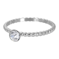IXXXI JEWELRY RINGEN iXXXi Washer 2mm. Ball with Crystal Stone Silver colored Stainles stem