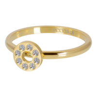 IXXXI JEWELRY RINGEN iXXXi Washer 2mm. Flat Circle Crystal Stone Gold plated Stainles steel
