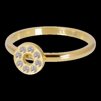 IXXXI JEWELRY RINGEN iXXXi Waschmaschine 2mm Flat Circle Crystal Stone GOLD Edelstahl
