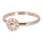 IXXXI JEWELRY RINGEN iXXXi Vulring 2mm. Flat Circle Crystal Stone Rosegoud verguld Stainles steel