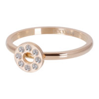 IXXXI JEWELRY RINGEN iXXXi Washer 2mm. Flat Circle Crystal Stone Rose gold plated Stainles steel