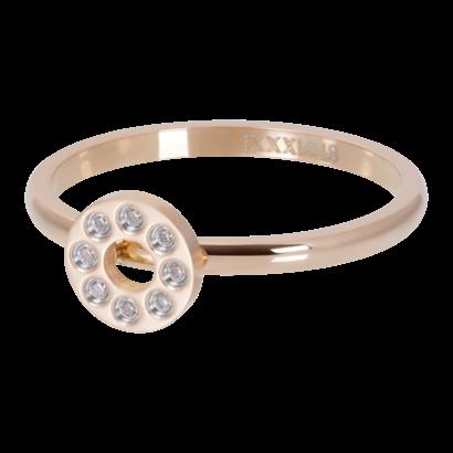IXXXI JEWELRY RINGEN iXXXi Waschmaschine 2mm Flat Circle Crystal Stone RoseGOLD Edelstahl