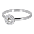 IXXXI JEWELRY RINGEN iXXXi Unterlegscheibe 2mm. Flat Circle Crystal Stone Silberfarbener Stainles-Stiel