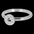 IXXXI JEWELRY RINGEN iXXXi Vulring 2mm. Flat Circle Crystal Stone Zilverkleurig Stainles steel