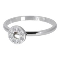 IXXXI JEWELRY RINGEN iXXXi Vulring 2mm. Flat Circle Crystal Stone Zilverkleurig Stainles steel