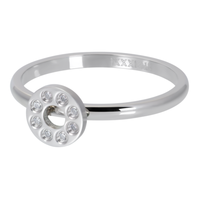 IXXXI JEWELRY RINGEN iXXXi Vulring 2mm Flat Circle Crystal Stone Zilverkleurig  stainles staal