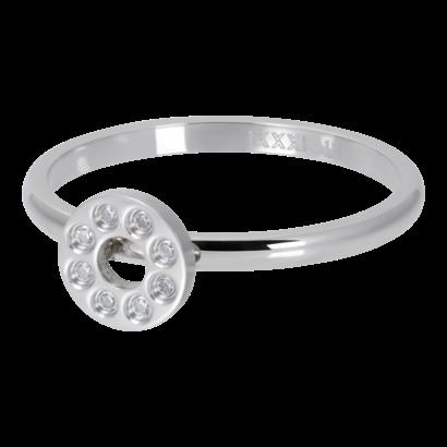 IXXXI JEWELRY RINGEN iXXXi Waschmaschine 2mm Flat Circle Crystal Stone Silberfarbener Stahl