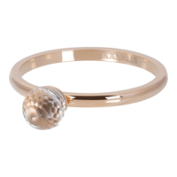IXXXI JEWELRY RINGEN iXXXi Washer 2mm. Crystal Glass Ball Rose gold plated Stainles steel