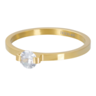 IXXXI JEWELRY RINGEN iXXXi Vulring 2mm. Mini Glamour Stone Goud verguld Stainles steel
