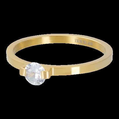 IXXXI JEWELRY RINGEN iXXXi Waschmaschine 2mm Mini Glamour Stone GOLD Edelstahl