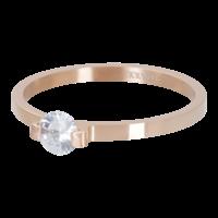 IXXXI JEWELRY RINGEN iXXXi Vulring 2mm. Mini Glamour Stone Rosegoud verguld Stainles steel