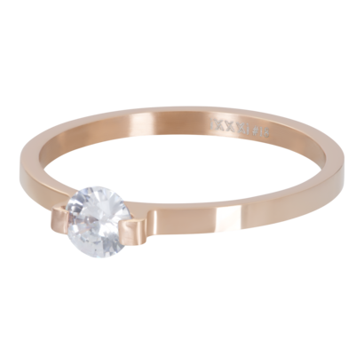 IXXXI JEWELRY RINGEN iXXXi Scheibe 2mm Mini Glamour Stone ROSEGOUD Edelstahl