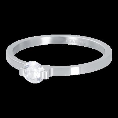 IXXXI JEWELRY RINGEN iXXXi Vulring 2mm  Mini Glamour Stone Zilverkleurig  stainles staal