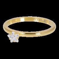 IXXXI JEWELRY RINGEN iXXXi Unterlegscheibe 2mm. Stern Kristall Stein vergoldet Stainles Stiel