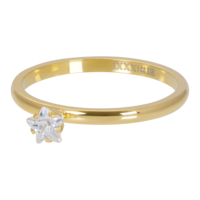 IXXXI JEWELRY RINGEN iXXXi Vulring 2mm. Star Crystal Stone Goud verguld Stainles steel