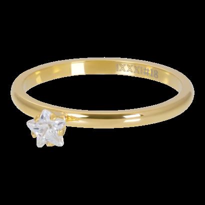 IXXXI JEWELRY RINGEN iXXXi Scheibe 2mm Star Crystal Stone GOLD Edelstahl