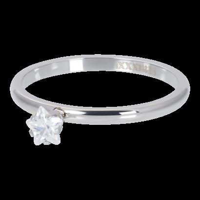 iXXXi JEWELRY iXXXi Unterlegscheibe 2mm Star Crystal Stone Silberfarbener Stahl