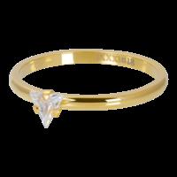 IXXXI JEWELRY RINGEN iXXXi Unterlegscheibe 2mm. Triangle Crystal Stone Vergoldeter Stiel aus Edelstahl