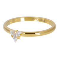 IXXXI JEWELRY RINGEN iXXXi Vulring 2mm. Triangle Crystal Stone Goud verguld Stainles steel