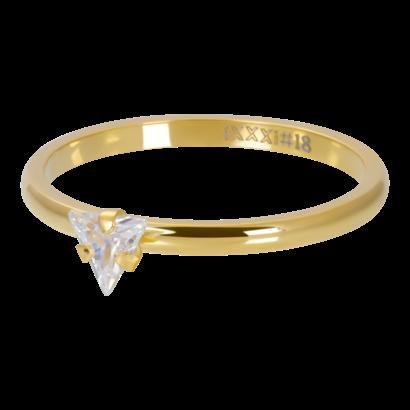 IXXXI JEWELRY RINGEN iXXXi Scheibe 2mm Dreieck Kristallstein GOLD Edelstahl