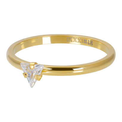 IXXXI JEWELRY RINGEN iXXXi Vulring 2mm  Triangle Crystal Stone GOUD  stainles staal