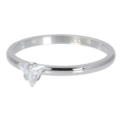 IXXXI JEWELRY RINGEN iXXXi Vulring 2mm  Triangle Crystal Stone Zilverkleurig stainles staal