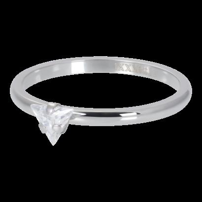 IXXXI JEWELRY RINGEN iXXXi Washer 2mm Triangle Crystal Stone Silberfarbener Stahl