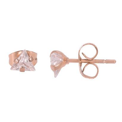 iXXXi JEWELRY iXXXi Jewelry Oorstekers  met Driehoekig Crystal  in rosegoud verguld staal