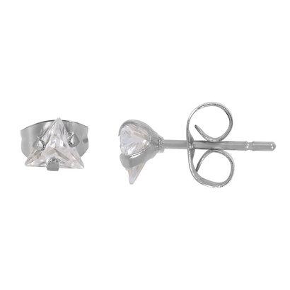 iXXXi JEWELRY iXXXi Jewelry Ear Studs with Triangular Crystal in silver colored steel