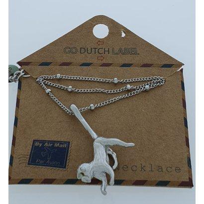 GO-DUTCH LABEL Go Dutch Label Edelstahl Halskette Short Monkey Silberfarben