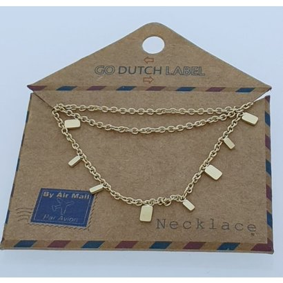 GO-DUTCH LABEL Go Dutch Label Stainless Steel Necklace Short Rectangle Gold colored