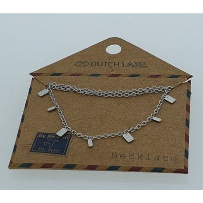 GO-DUTCH LABEL Go Dutch Label Stainless Steel Necklace Short Rectangle Silver colored