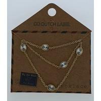GO-DUTCH LABEL Go Dutch Label Kettinkje Met Ovale elementjes Goudkleurig