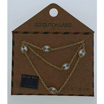 GO-DUTCH LABEL Go Dutch Label Halskette aus Edelstahl mit ovalen Elementen und Zirkonia-Gold