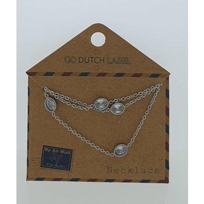 GO-DUTCH LABEL Go Dutch Label Halskette aus Edelstahl mit ovalen Elementen und Zirkonia Silber