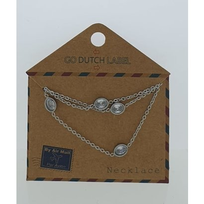 GO-DUTCH LABEL Go Dutch Label Stainless Steel Necklace Short With Oval Elements with Zirconia Silver