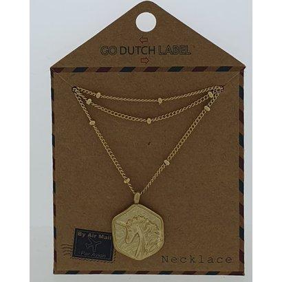 GO-DUTCH LABEL Go Dutch Label Stainless Steel Necklace Short Unicorn Gold
