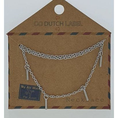 GO-DUTCH LABEL Go Dutch Label Edelstahl Halskette Short Bars Silberfarben