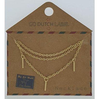 GO-DUTCH LABEL Go Dutch Label Edelstahl Halskette Short Bars Gold