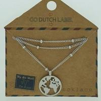 GO-DUTCH LABEL Go Dutch Label Halskette mit Anhänger World Silver