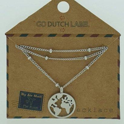 GO-DUTCH LABEL Go Dutch Label Edelstahl Collier Short mit Anhänger World Silver
