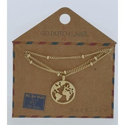 GO-DUTCH LABEL Go Dutch Label Stainless Steel Necklace Short with pendant World Gold