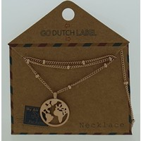GO-DUTCH LABEL Go Dutch Label Necklace with pendant World Rose gold