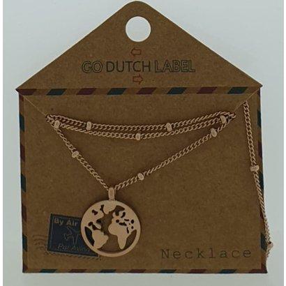 GO-DUTCH LABEL Go Dutch Label Halskette mit Anhänger World Rose Gold