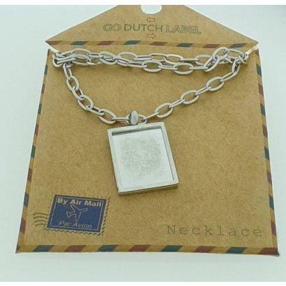 GO-DUTCH LABEL Go Dutch Label Stainless Steel Necklace Short with rectangular pendant Lion Silver