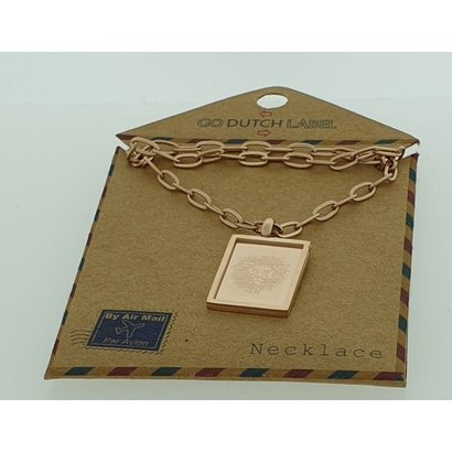 GO-DUTCH LABEL Go Dutch Label Stainless Steel Necklace Short with rectangular pendant Leo Rose gold colored