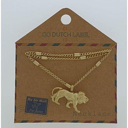 GO-DUTCH LABEL Go Dutch Label Edelstahl Collier Short mit Anhänger Lion Gold