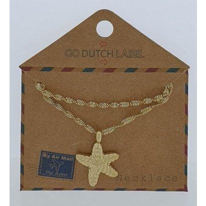 GO-DUTCH LABEL Go Dutch Label Edelstahl Collier Short mit Anhänger Seestern Goldfarben