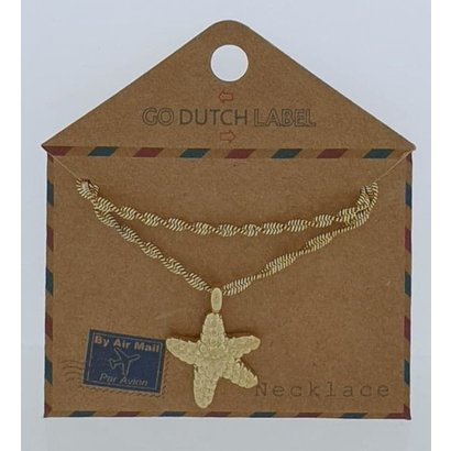 GO-DUTCH LABEL Go Dutch Label Stainless Steel Necklace Short with pendant Starfish Gold colored