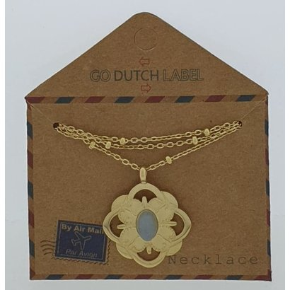 GO-DUTCH LABEL Go Dutch Label Stainless Steel Necklace Short with pendant Baroque Gold colored with a small natural stone